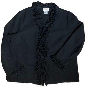 Talbots Women 100% Wool Fringe Jacket Size 1X